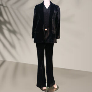 Black velvet suit for women